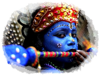 Little Boy Krishna with his flute