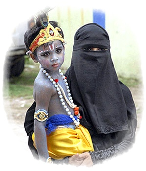 A Small Krishna a Muslim Boy with his mother